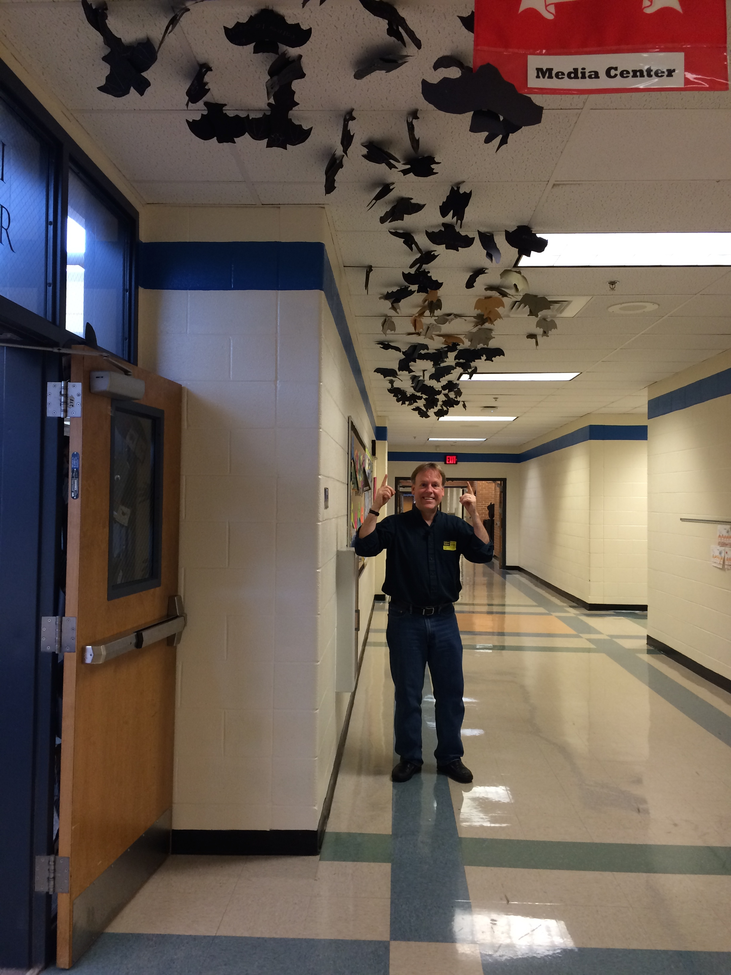 Pitner Elementary, in Kennesaw, GA, created a parade of bats leading to the Media Center!