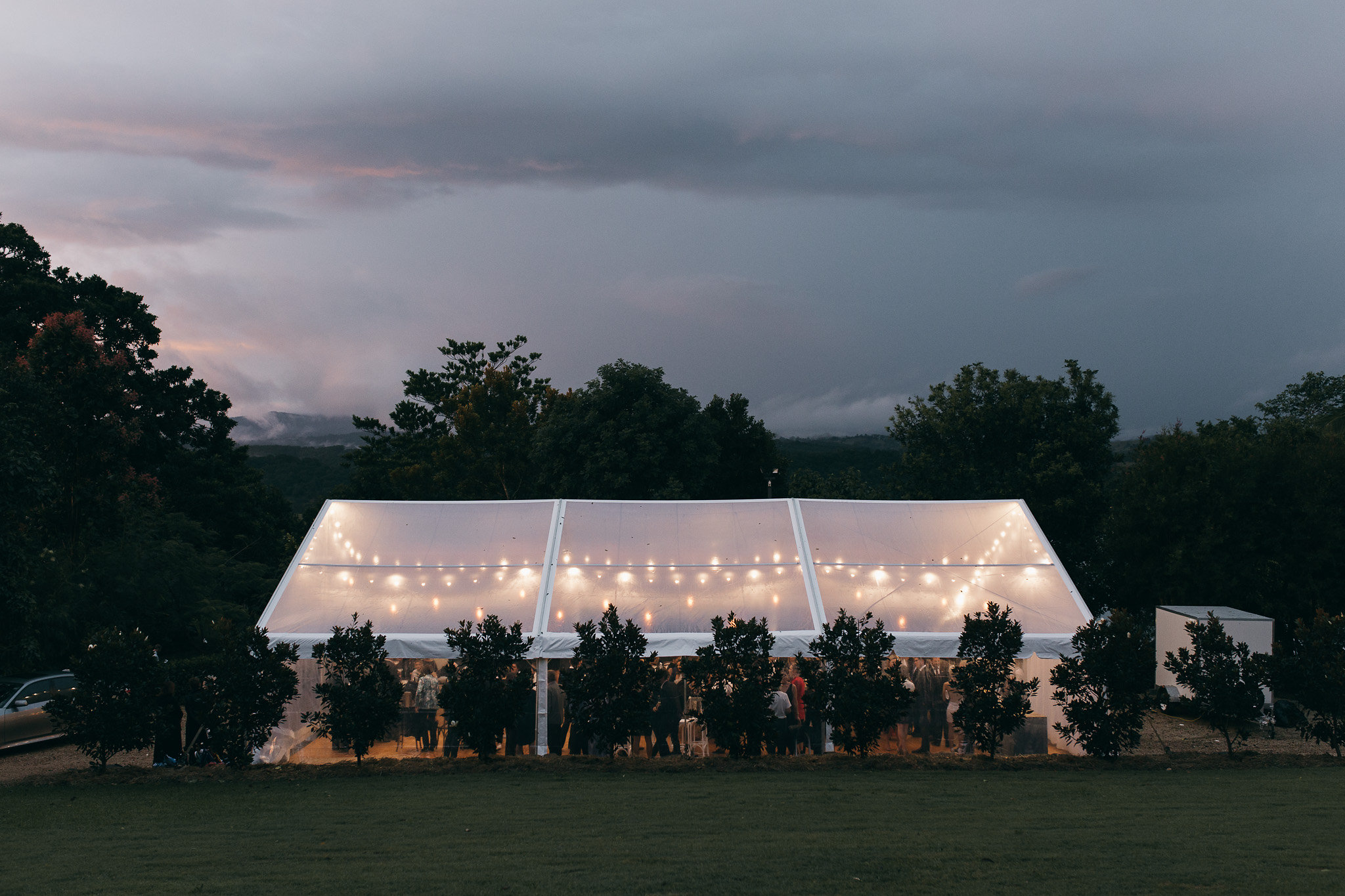 10m x 15m Clear Marquee with Festoon Lights