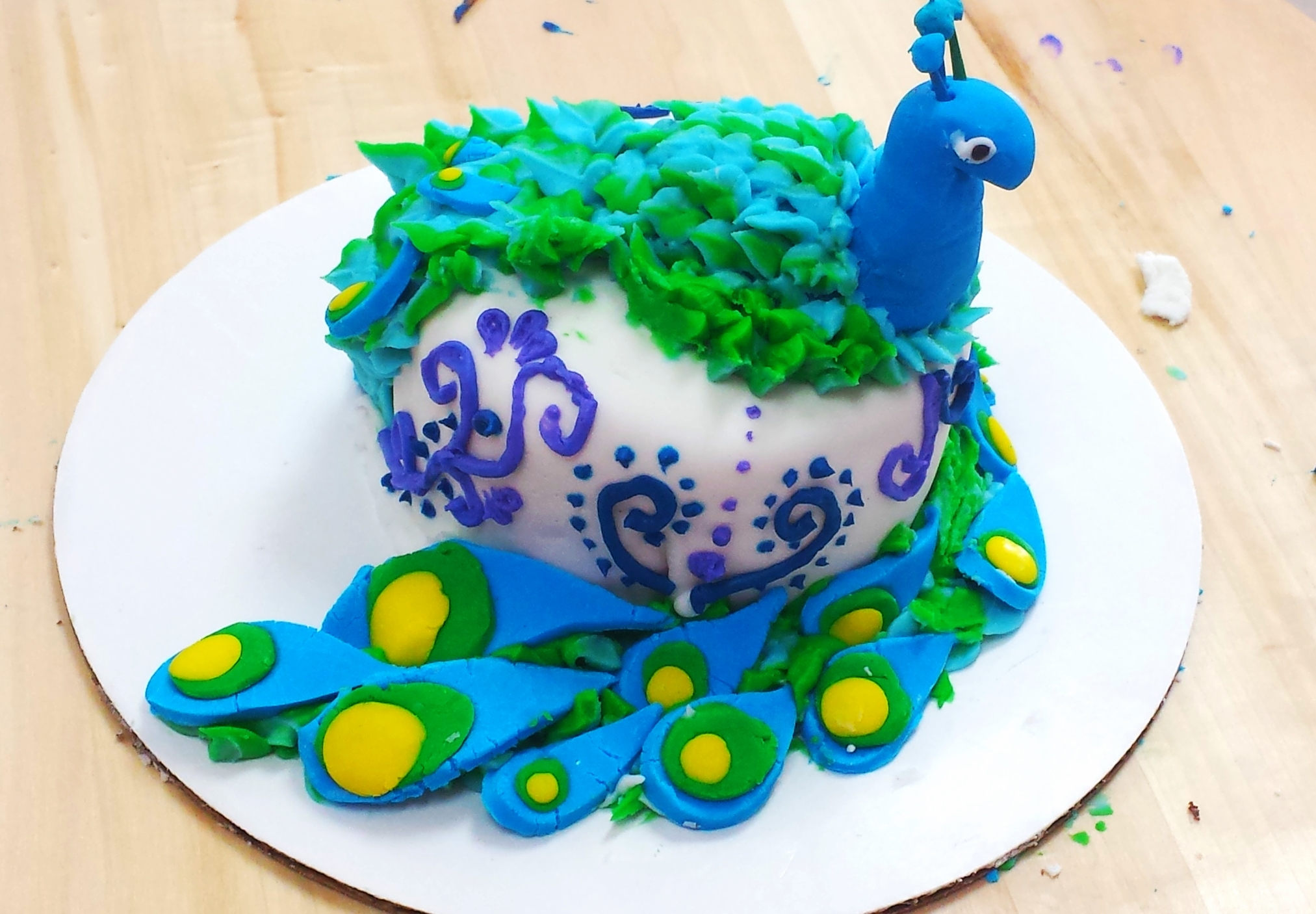 This peacock cake was created by a 14 year old girl on the 4th day of her week long  SUMMER CAMP.