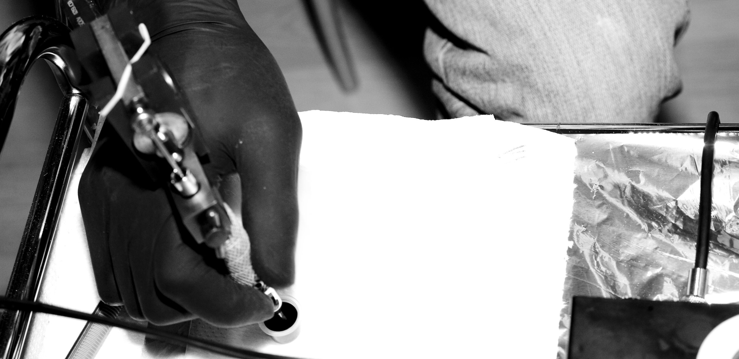 tattooing needle and ink