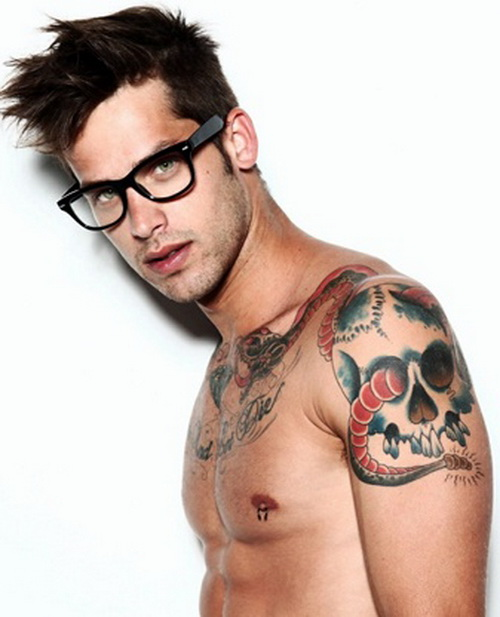 confident man with tattoo