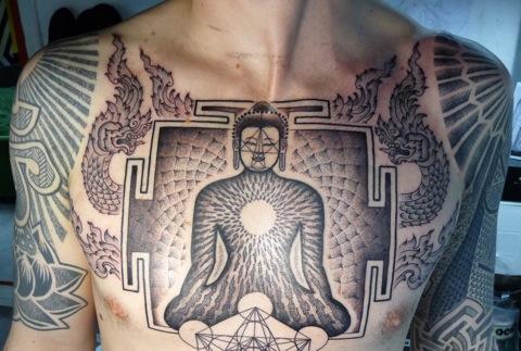 zen chest tattoo