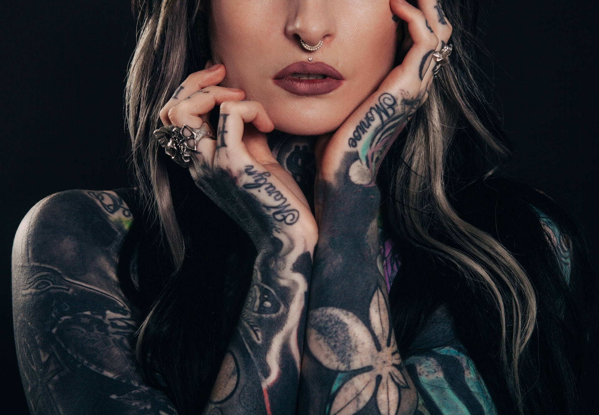 Photo by Clem Onojeghuo from Pexels  https://www.pexels.com/photo/woman-in-black-and-white-floral-tattoo-194074/