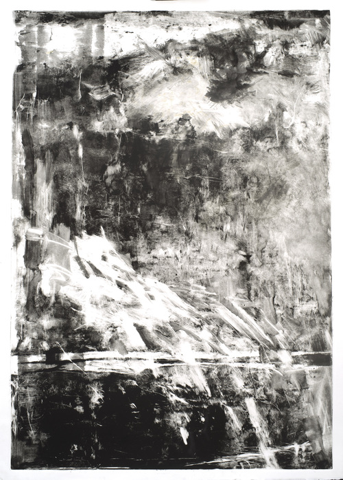"Asian Landscape   Monotype with Japanese Ink [Framed]  41"" x 30"""