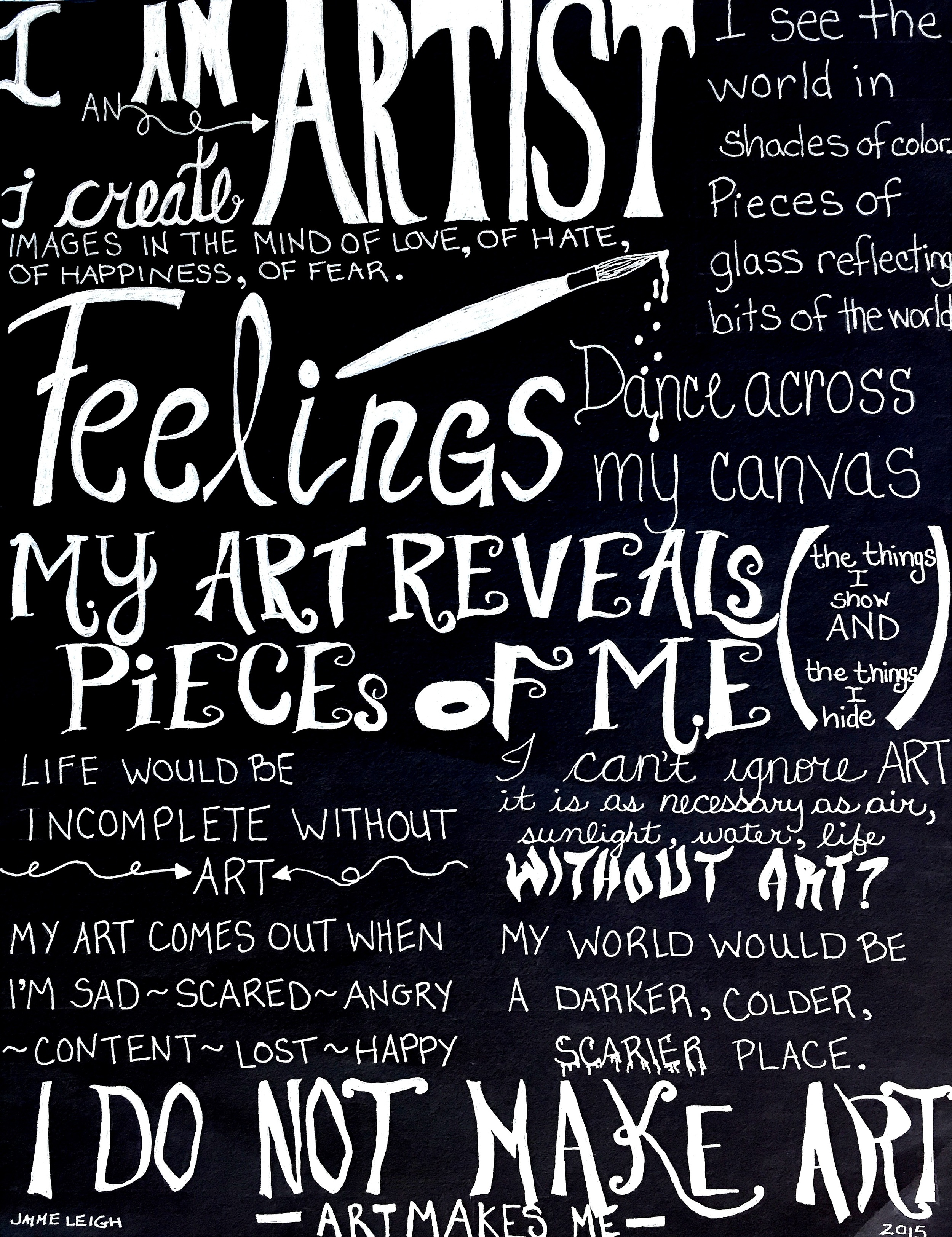Jaime Leigh: Hand Lettered artist's statement!