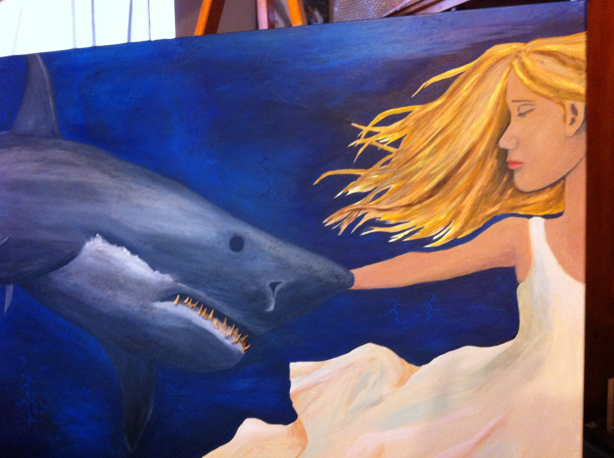 My first attempt. Funny, the shark has not changed. I nailed it on the first try. The girl? Eh, not so much.