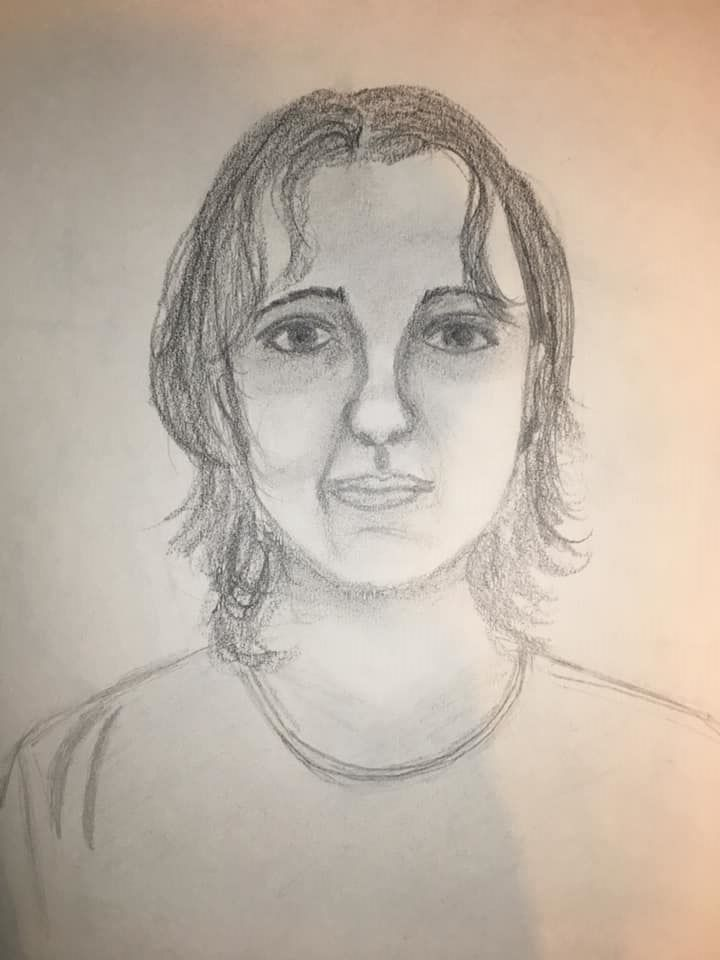 My first self-portrait, done in a college drawing class, 1997.