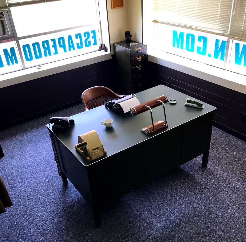 Charlie Swope's desk inside  The Missing Detective's Office  - our classic escape room game!
