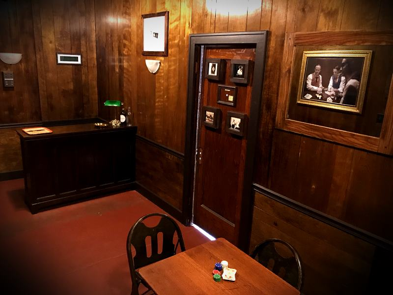 We spent over half a year creating an authentic-looking speakeasy / gambling den. You'll walk right into 1925!