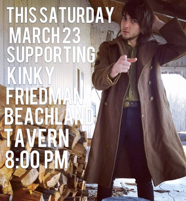 Come to the woodpile this Saturday at 8 PM, don't miss KINKY FRIEDMAN AT THE BEACHLAND. I've got some sweet talking to do and will not hold back.. WWII trench coat not included.. #kinkyfriedman #beachlandballroom #springmothalicka #holdingnothingalmostfree #somekindofwings