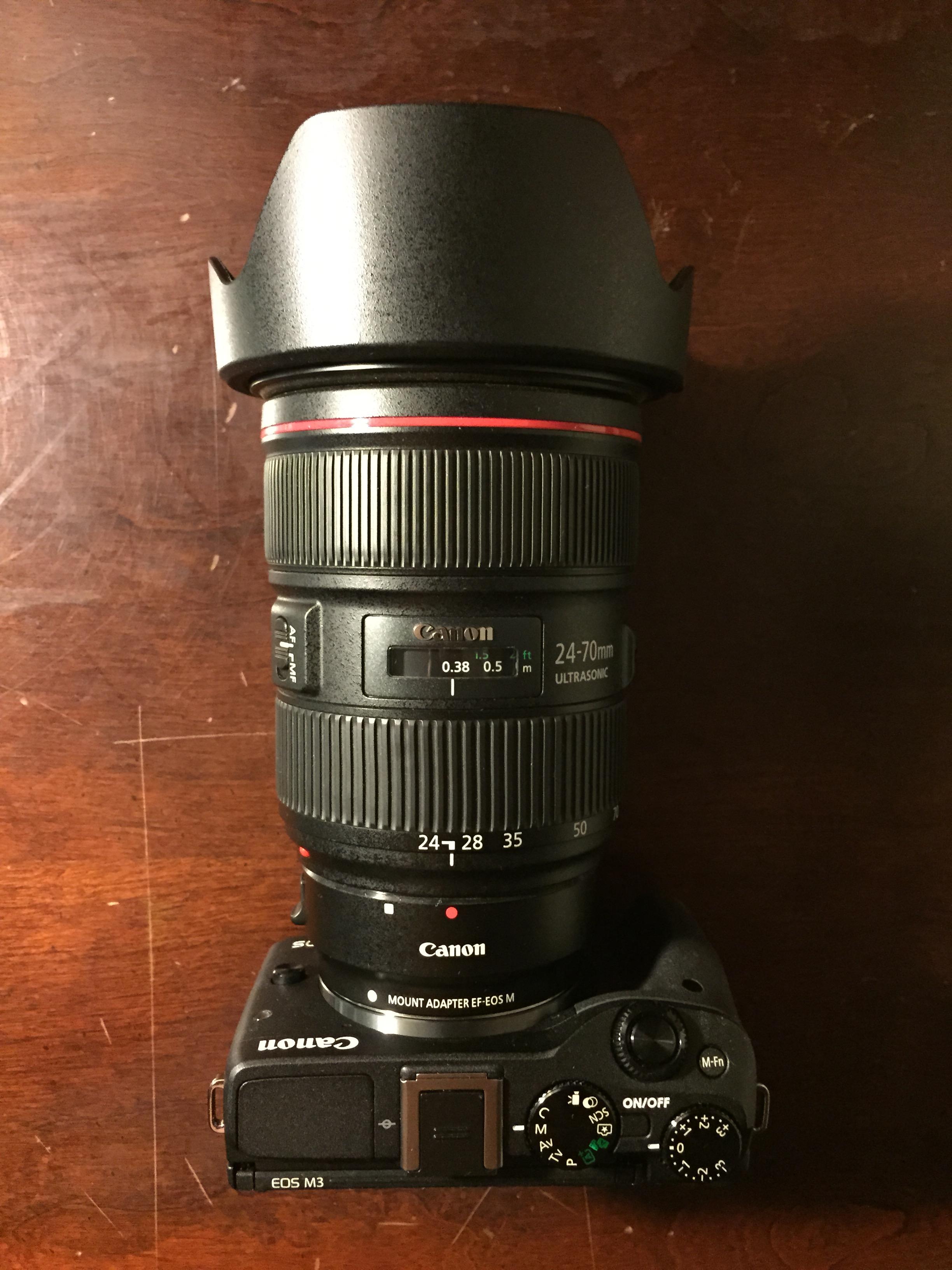Canon EOS M3 w/ Canon EF 24-70mm f/2.8L II via Canon EOS EF-M adapter
