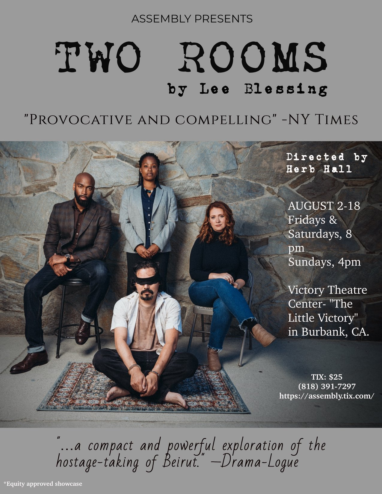 Michael is proud to have created over 40 minutes of music for  Lee Blessing's   TWO ROOMS .  This is the premiere production by  Assembly  and will be running 8/2-18th at the  Victory Theatre Center .  Directed by Herb Hall.   Tickets on sale now!