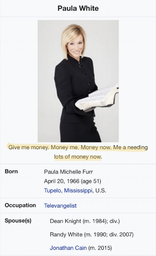 The internet remains undefeated. Miss Paula's Wiki page has been duly updated.