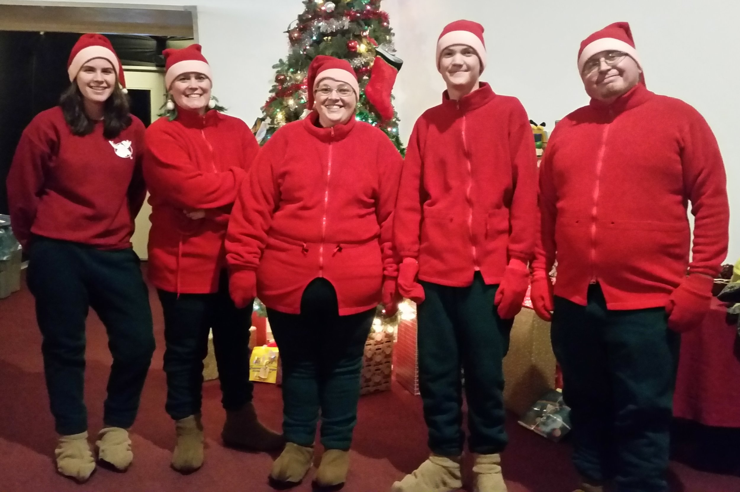 Elfing for a cause... Skein (Ashley), Shelby (Beth), Page (Becky), Runner (Devlin) and Bumbles (Joe)