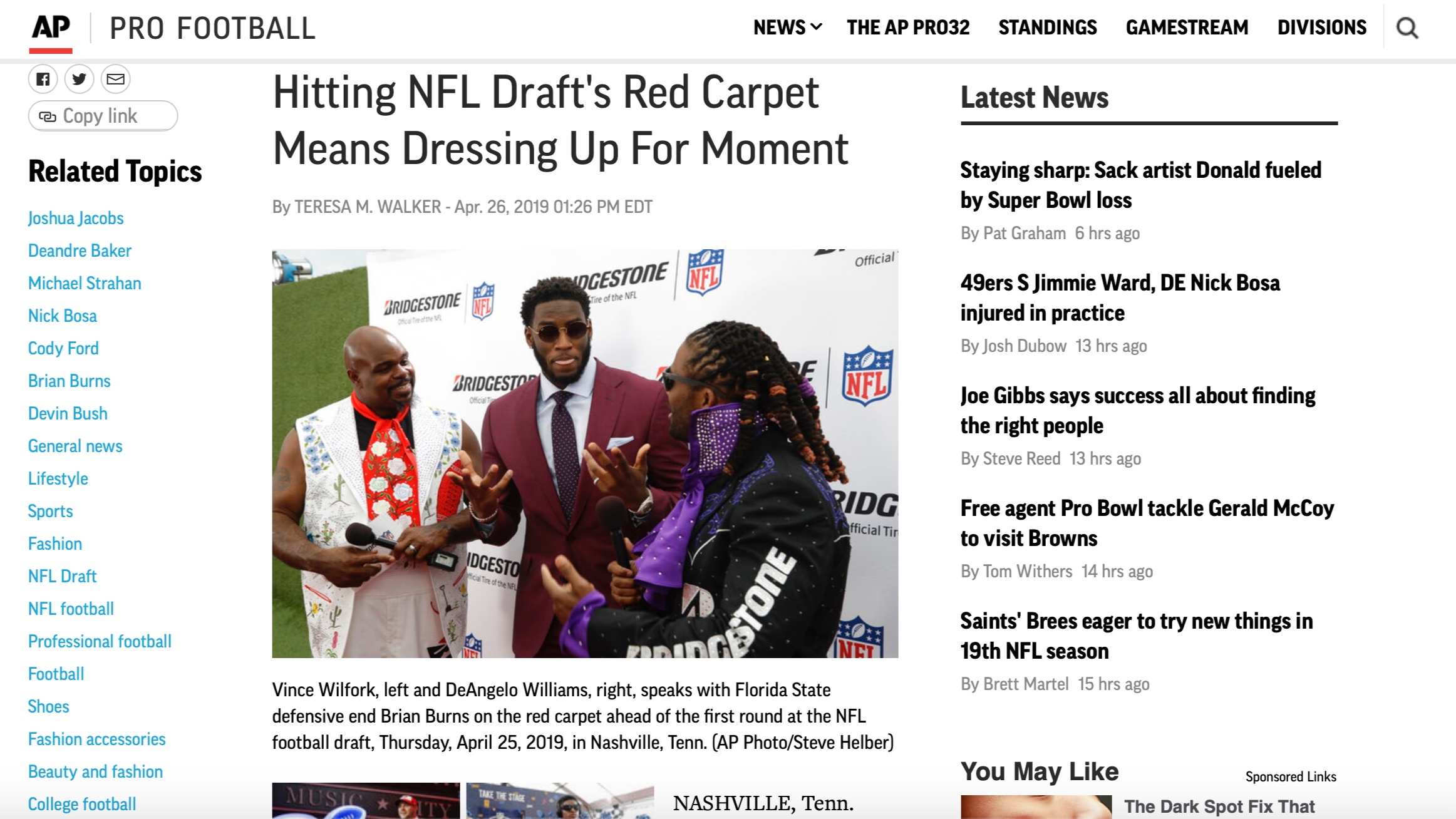 Associated Press , April 26, 2019   Hitting NFL Draft's Red Carpet Means Dressing Up For Moment