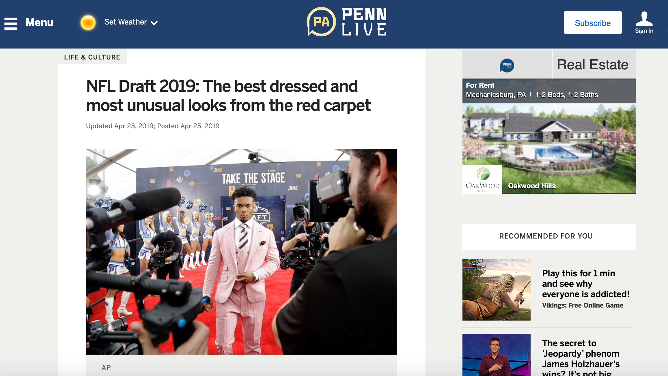 Penn Live , April 25, 2019   NFL Draft 2019: The best dressed and most unusual looks from the red carpet