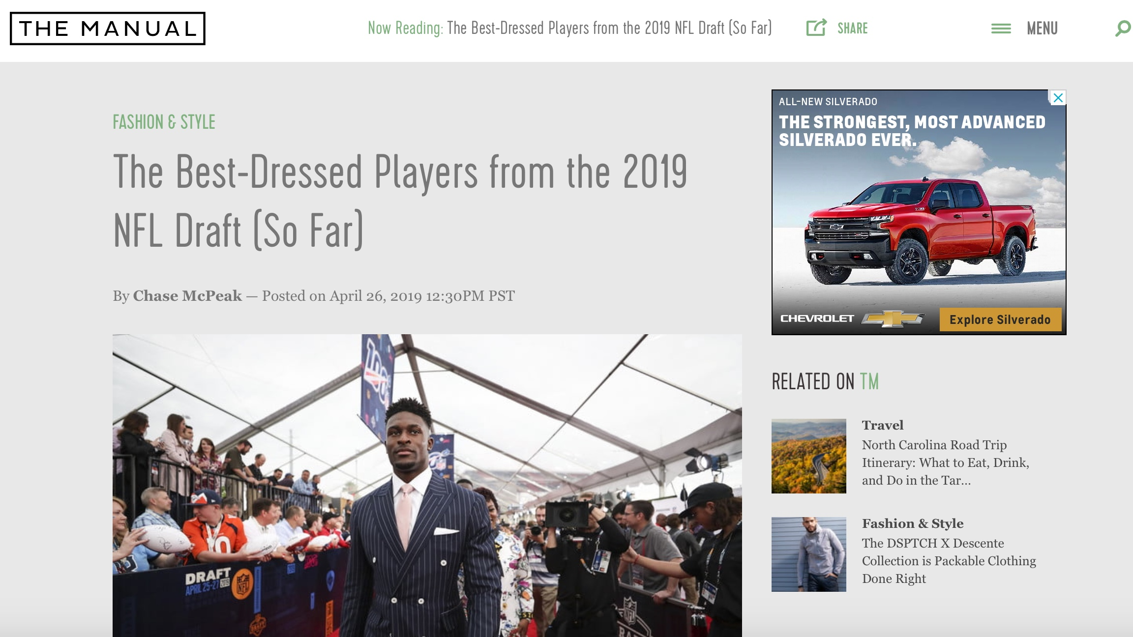 The Manual , April 26, 2019   The Best-Dressed Players from the 2019 NFL Draft (So Far)