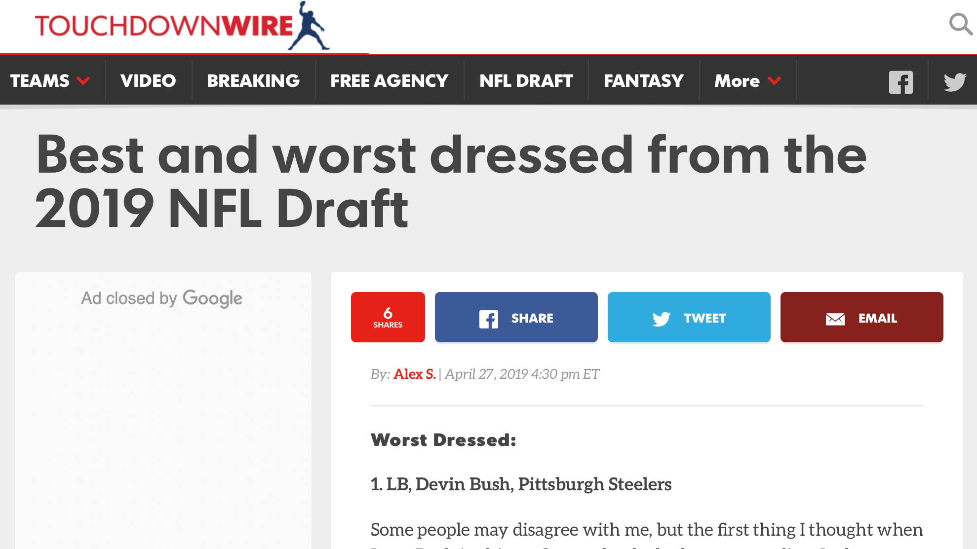 USA Today , April 27, 2019   Best and worst dressed from the 2019 NFL Draft