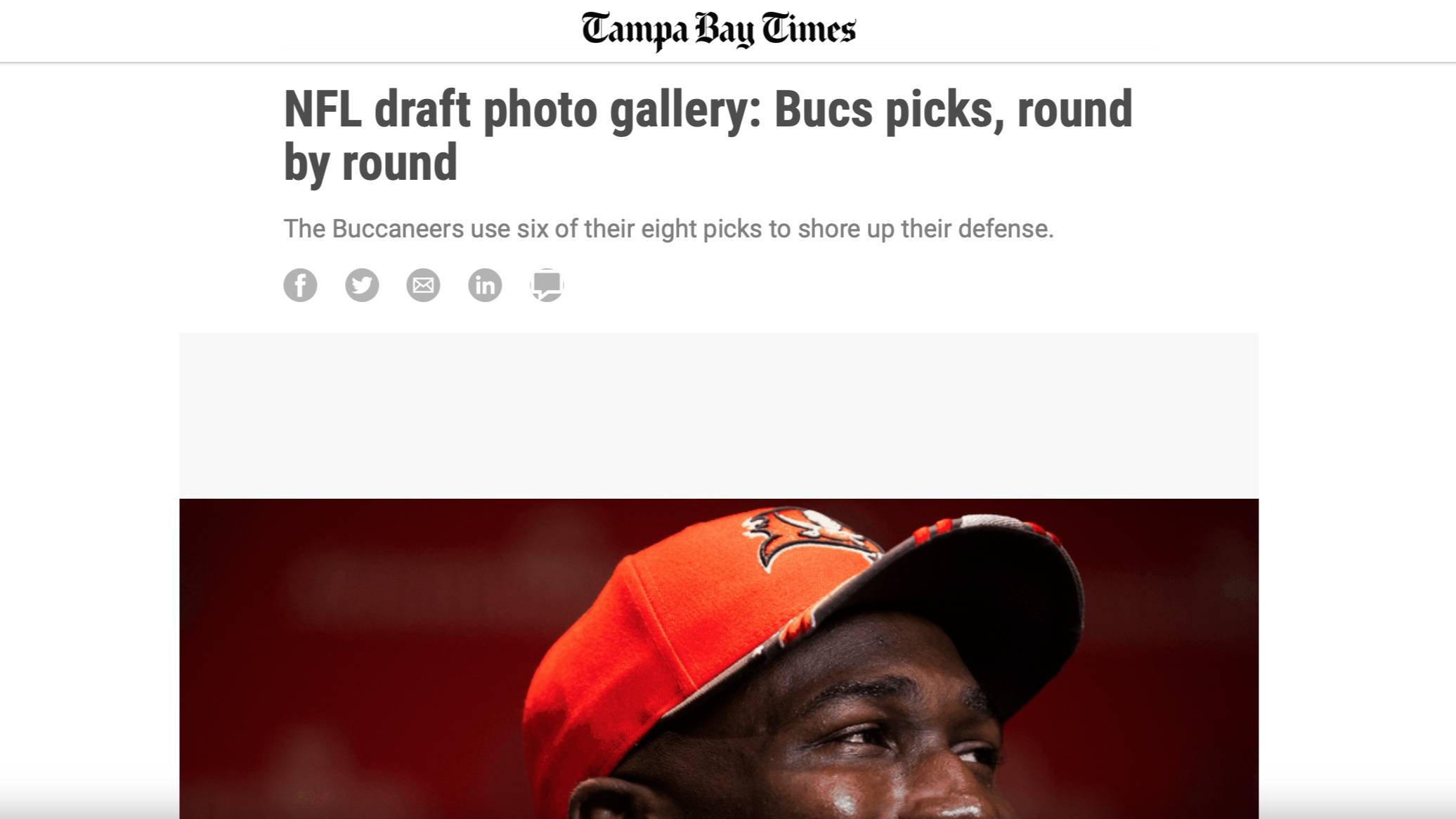 Tampa Bay Times , April 26, 2019   NFL draft photo gallery: Bucs picks, round by round
