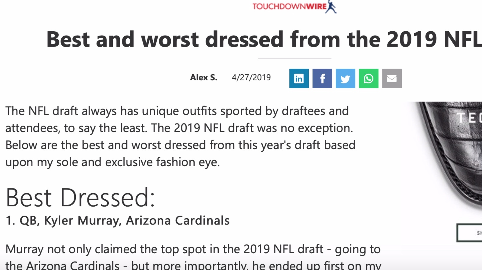 MSN , April 27, 2019   Best and worst dressed from the 2019 NFL Draft