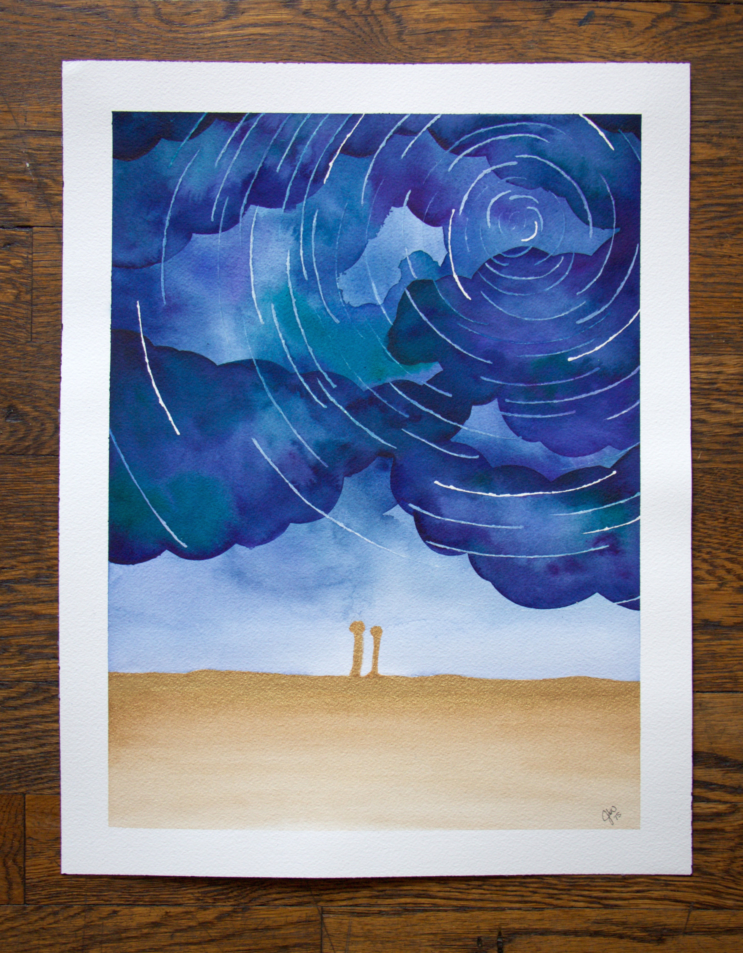 The third and final painting. Alternating cloud and star layers helped create a cohesive and beautiful sky.