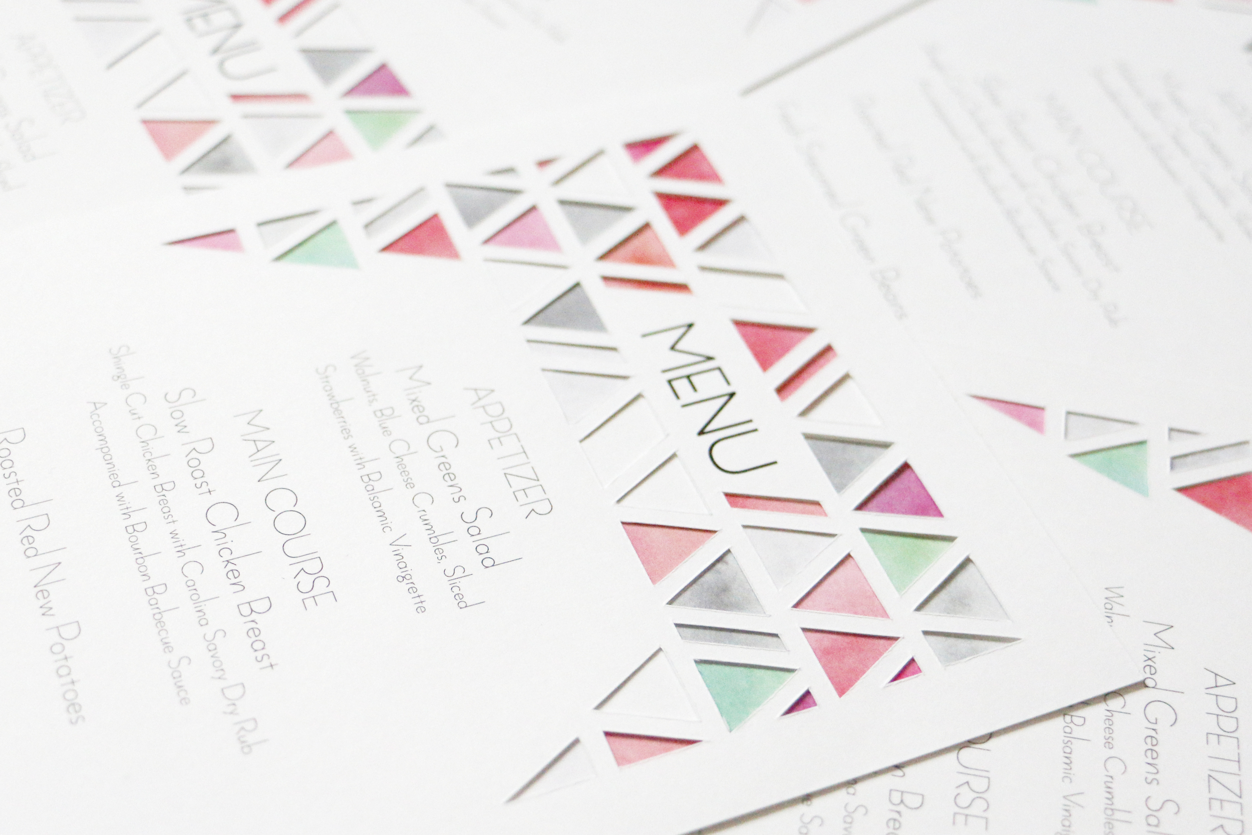 Paper by JLee: Modern Geometric Wedding Style Shoot Menu