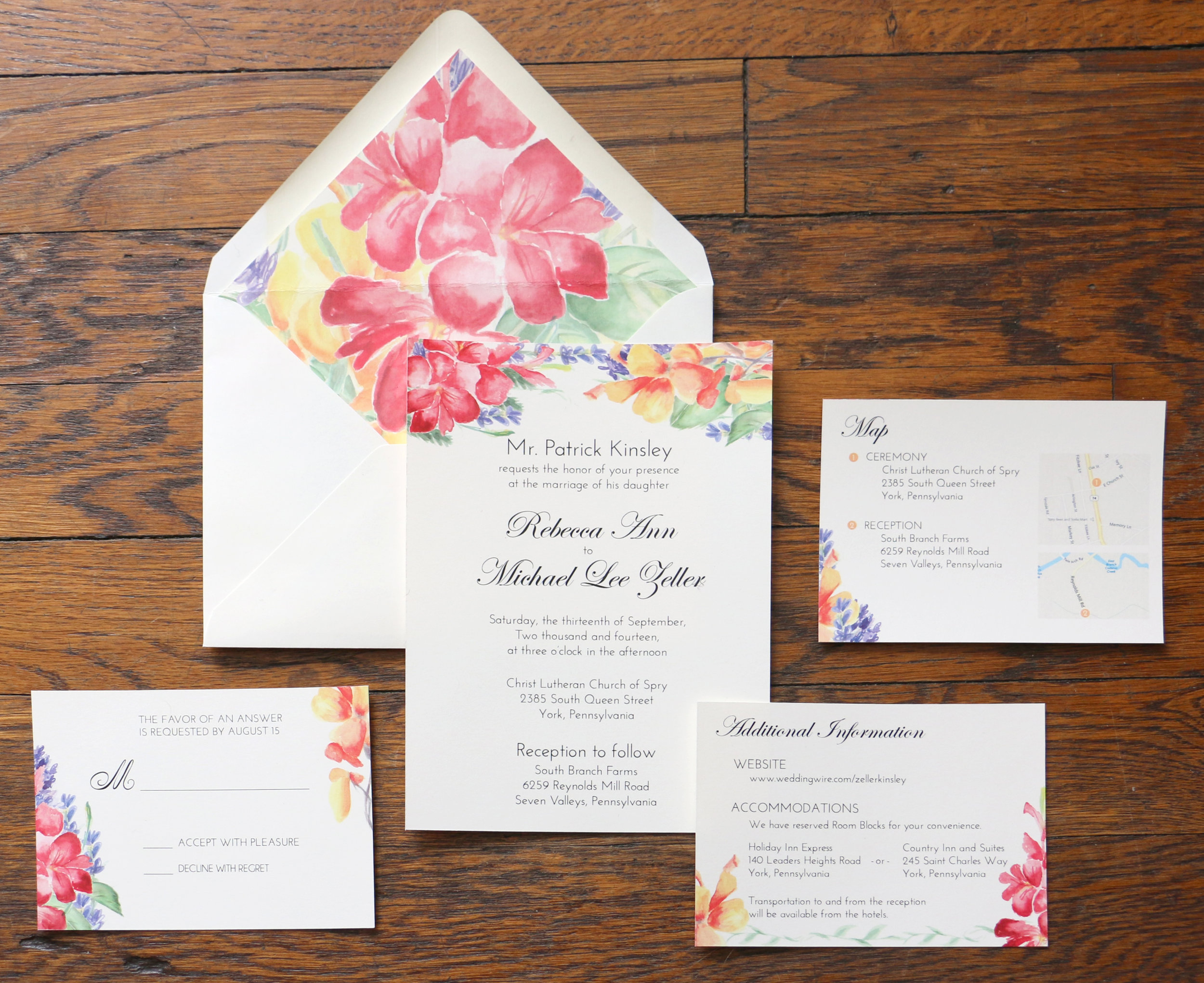 Paper by JLee: Pennsylvania Wedding Invitation Suite