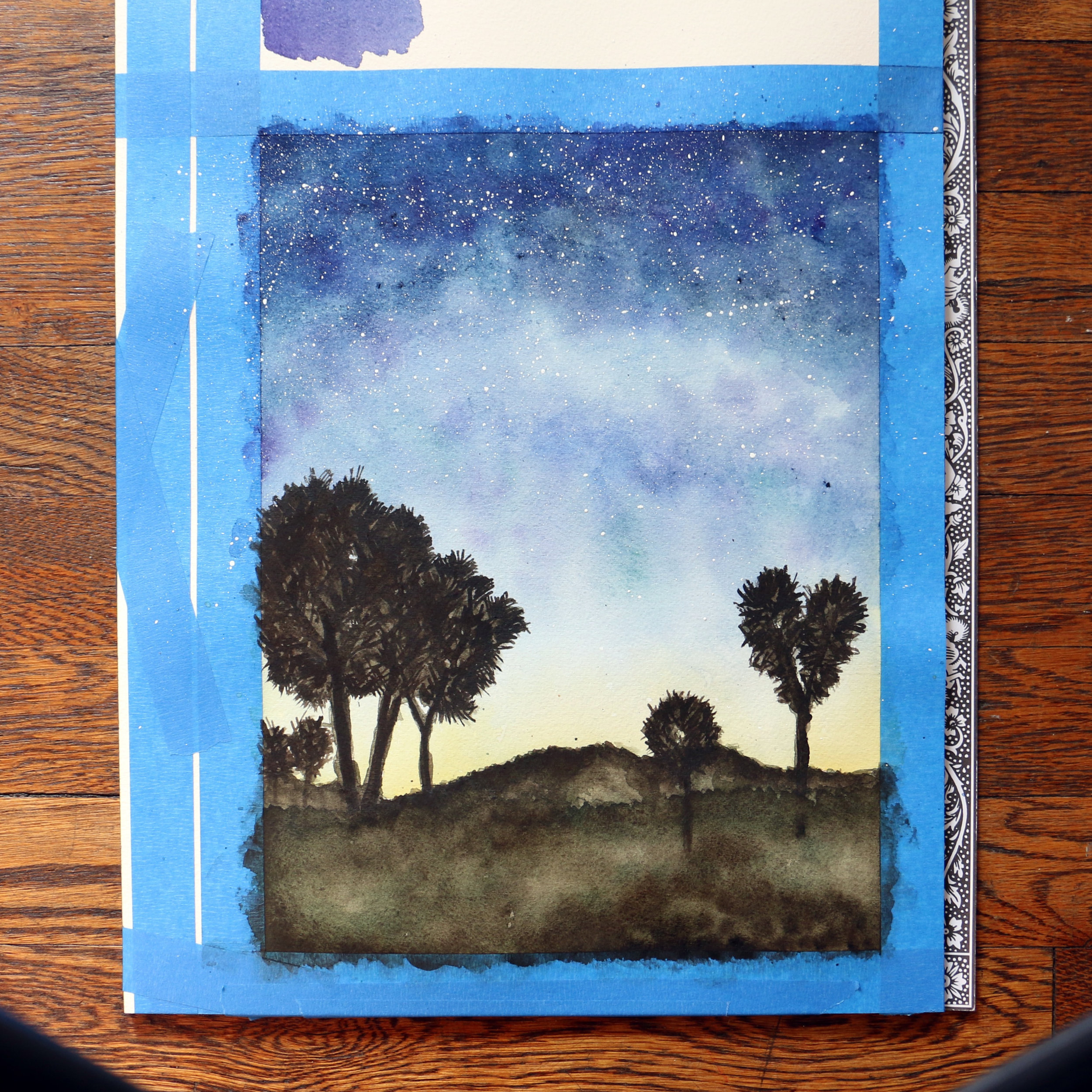 Step 3: Paint the foreground trees and landscape.