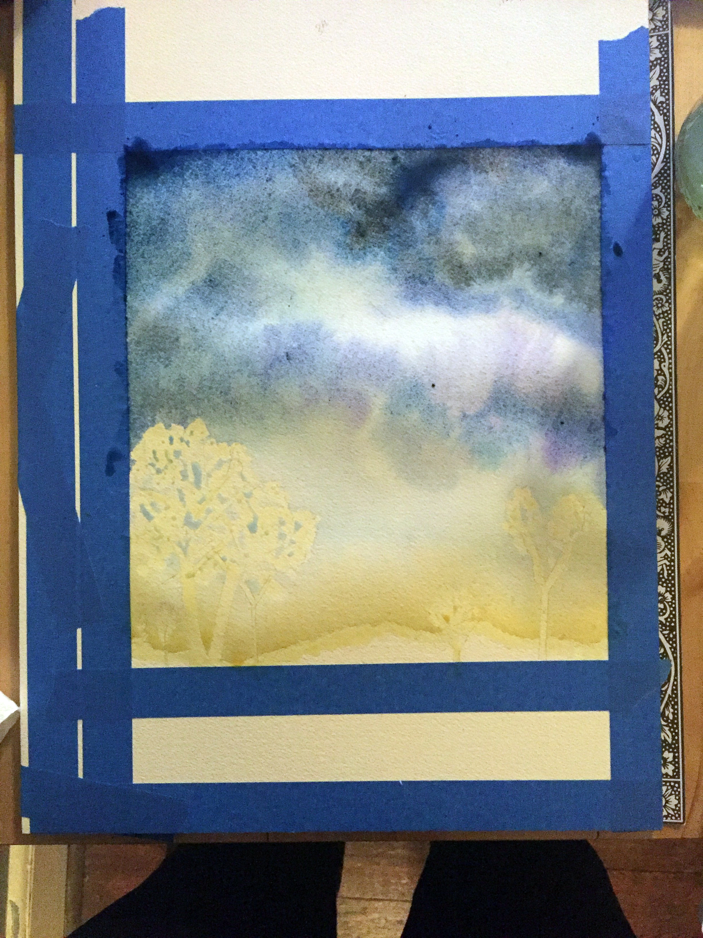 Step 1: Apply masking fluid & begin painting the sky