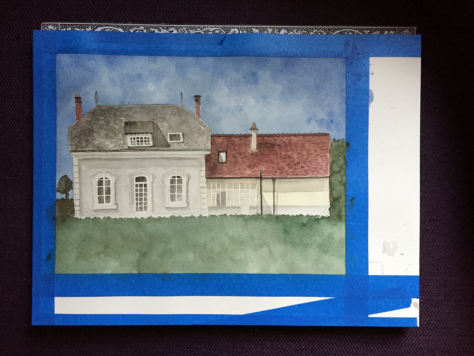 French Countryside Home Watercolor