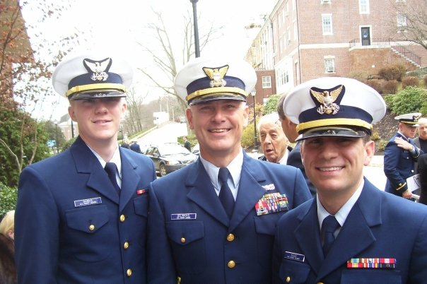 Newly minted ENSKilgo (on right) with CWO Tom Gelwicks at Officer Candidate School (OCS) graduation.