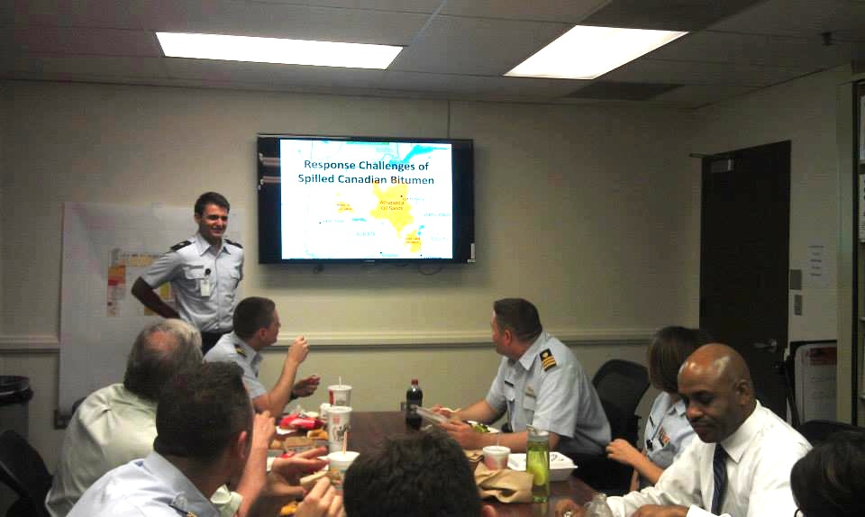 Silliman gives a presentation on the properties of Canadian oil sands to CG-MER personnel at Coast Guard Headquarters in Washington, July 18, 2013. U.S. Coast Guard photo.