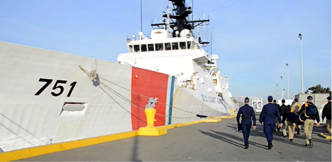 CMA Cadets spent several nights aboard the Coast Guard Cutter Waesche where they stood four hours on, eight hours off of engine and bridge watches among the crew, participated in firefighting training, navigation briefings, and law enforcement equipment demonstrations. Cutter departed from Coast Guard Island and went north to a shipyard in Portland, Oregon.