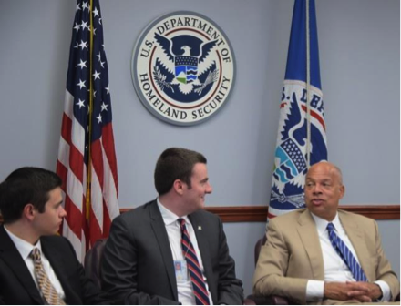 Theodotou (left) and Ellis (center) speak with Secretary Johnson at a roundtable discussion with DHS interns, 11 July 2016. Photo by PA1 Jetta Disco.