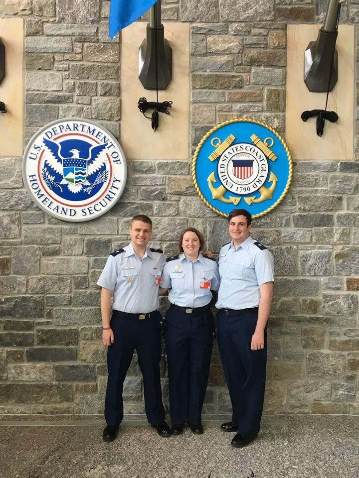 National Deputy Division Leader Jacob Marx, National Division Leader Katie Mazzola, and National Operations Leader Colin Ellis at Coast Guard Headquarters.
