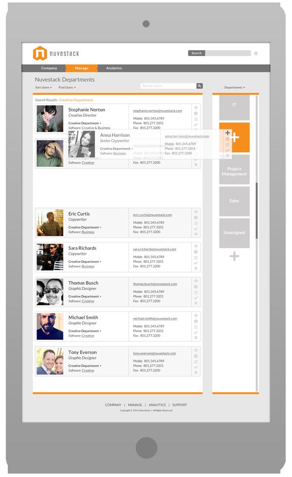 Software User Interface Design - Departments