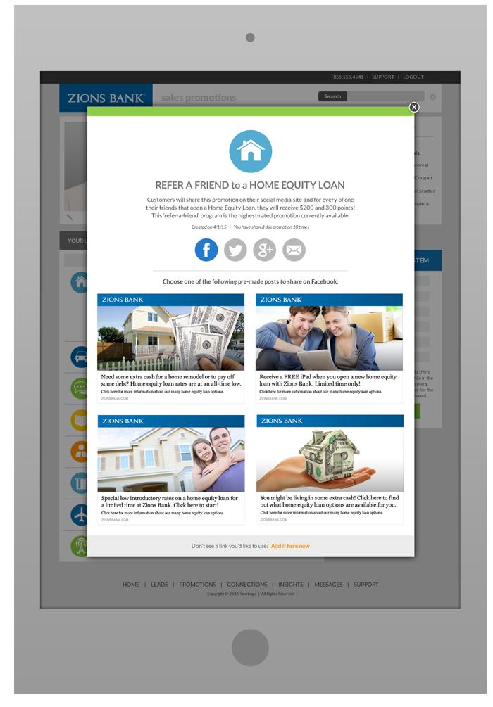 Sales Rep Portal Software Design - Promotion SharingPop-Up