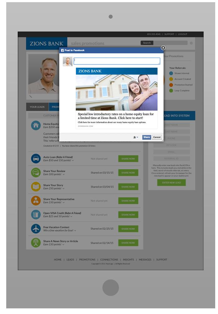 Sales Rep Portal  Software Design - Facebook Share  Pop-Up
