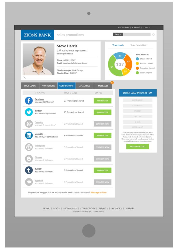 Sales Rep Portal  Software Design - Social Media Connections