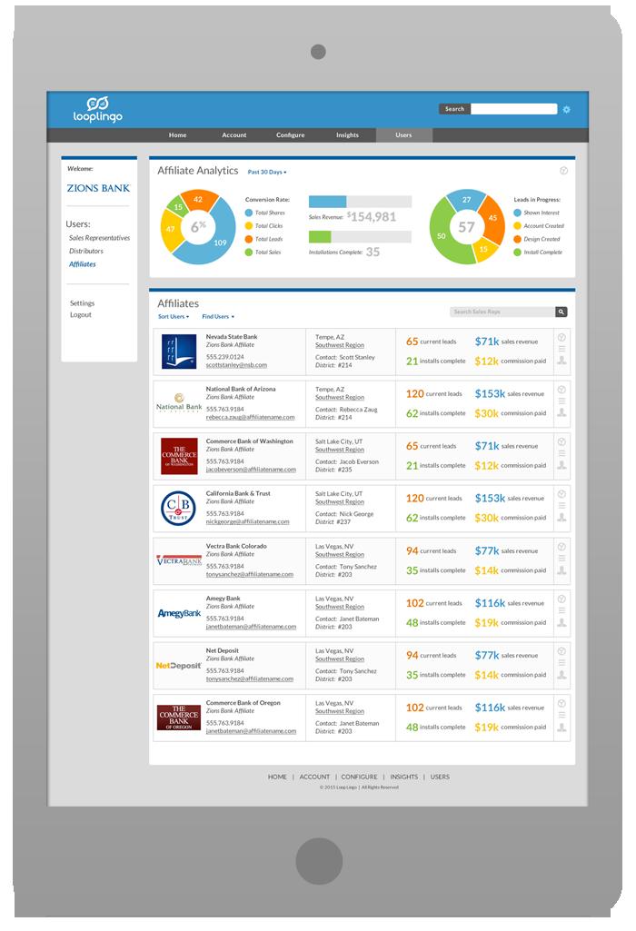 Merchant Portal Software Design - Bank Affiliates List