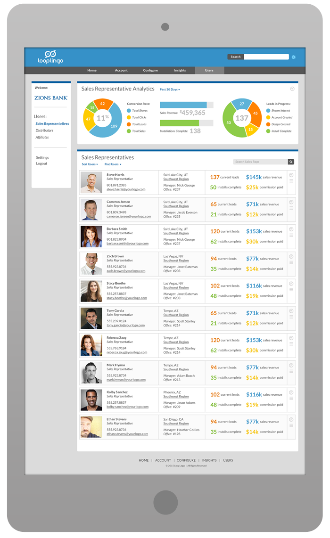 Merchant Portal Software Design - Sales Representative List