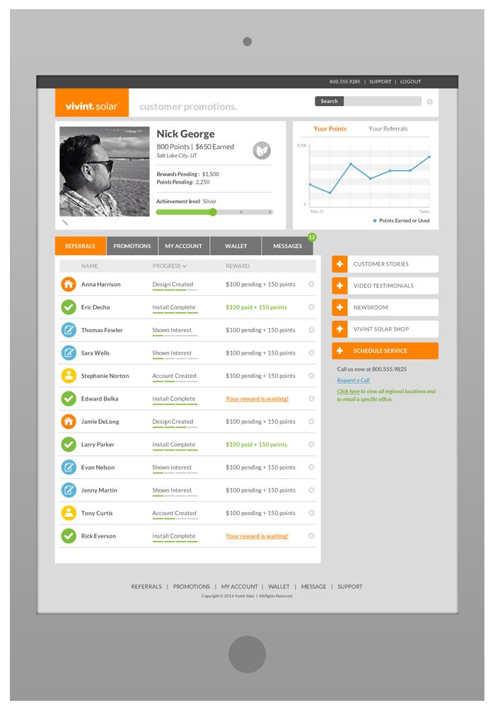 Customer Portal Design - Referrals Tab