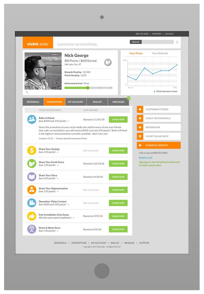 Customer Portal Design - Promotions Tab