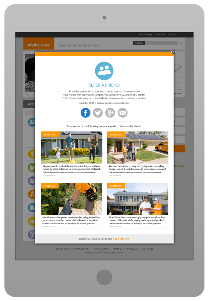 Customer Portal Design - Promotions Tab with Share Pop-Up