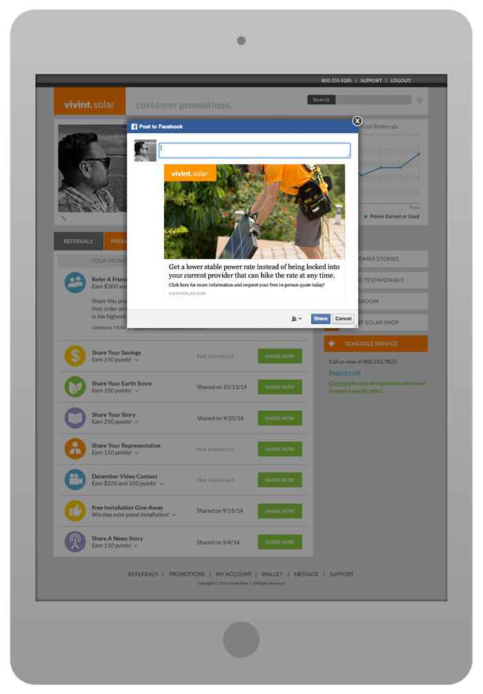 Customer Portal Design - Promotions Tab with Facebook Share Pop-Up