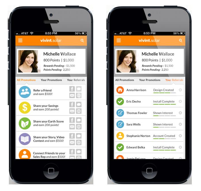 Customer Portal Mobile App Design - Promotions & Referrals Tabs