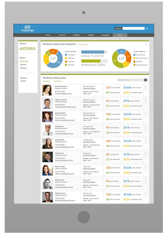 Merchant Portal Design - Wellness Advocates List