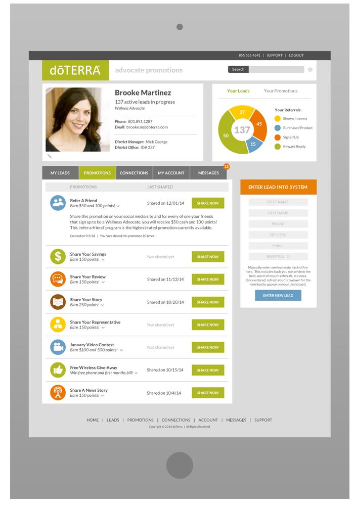 Wellness Advocate Portal - Promotions Tab