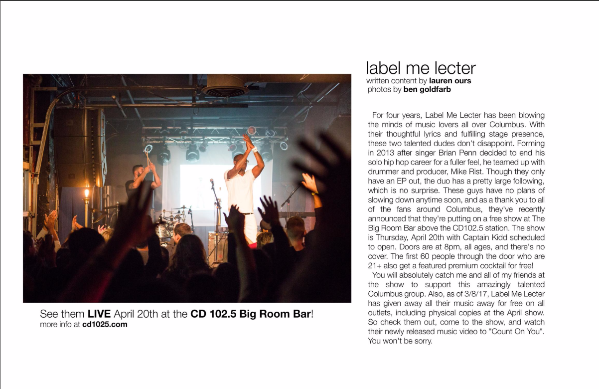 special shout out to     MNSTRM   magazine for the fantastic LML write up in their latest edition. we appreciate the love. check out the volume 7 | april 2017 issue   HERE .    we'll see you april 20th @   big room bar   for our free show with   captain kidd  .