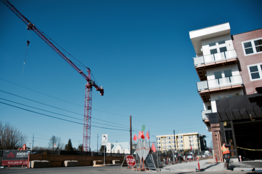 Construction this Spring along North Williams Avenue at Mason, where three new multifamily building are in various phases of development.